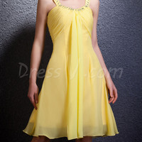 Alibaba Gorgeous Plus Size Beaded Straps Knee Length Cheap Price Yellow Bridesmaid Dresses
