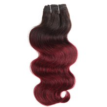 Fashion hot sale high quality ombre red color body wave Brazilian human hair weaving