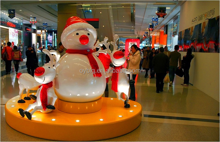 christmas snowman decoration large life size fiber glass snowman for shopping mall
