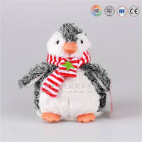 Fat stuffed christmas penguin toy/ plush penguin with scarf christmas tree toys