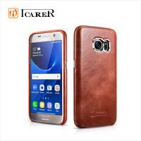 ICARER Fashion Real Leather Back Cover Phone Case for Samsung Galaxy S7