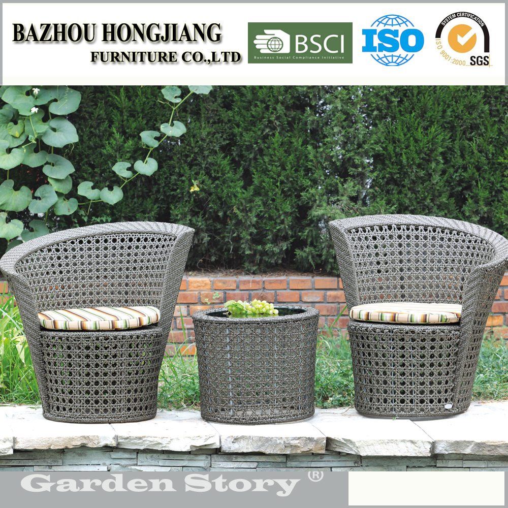 118 Sector shaped rattan grey chair and tea table garden outdoor furniture