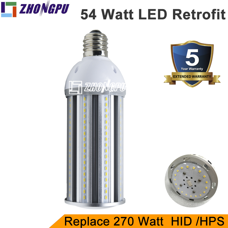 High Lumen 54w LED retrofit bulb to replace traditional fixture in old place