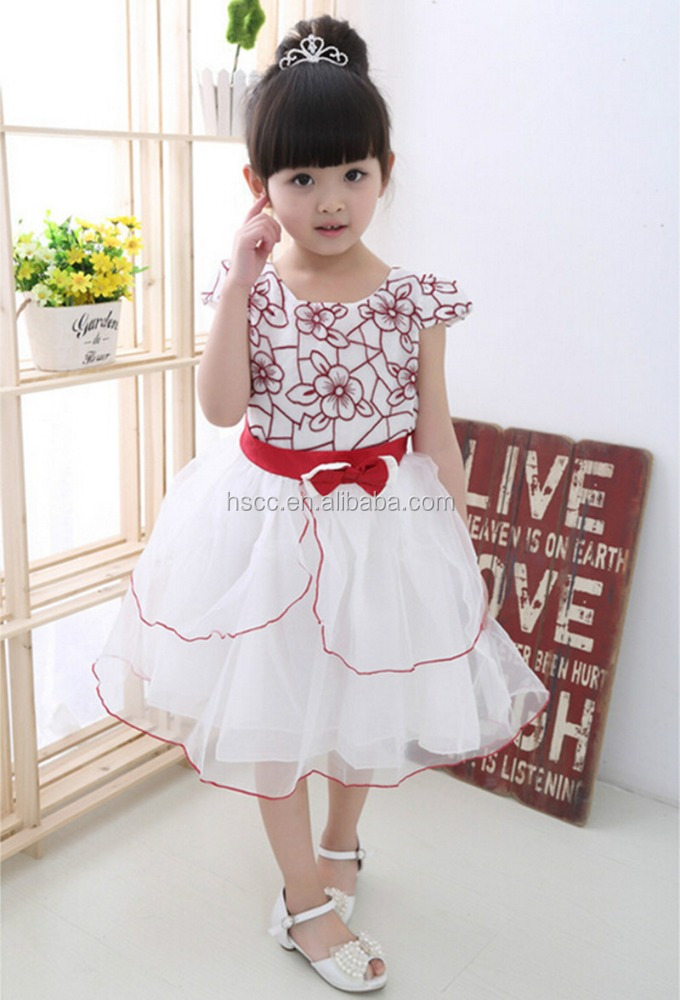 white embroidered children's clothing birthday party dresses girls' dresses CY-HDQ