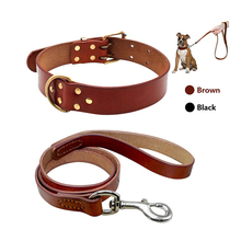Leather Pet dog collar Leash set for medium large dog breed For Pitbull Boxer Bulldog