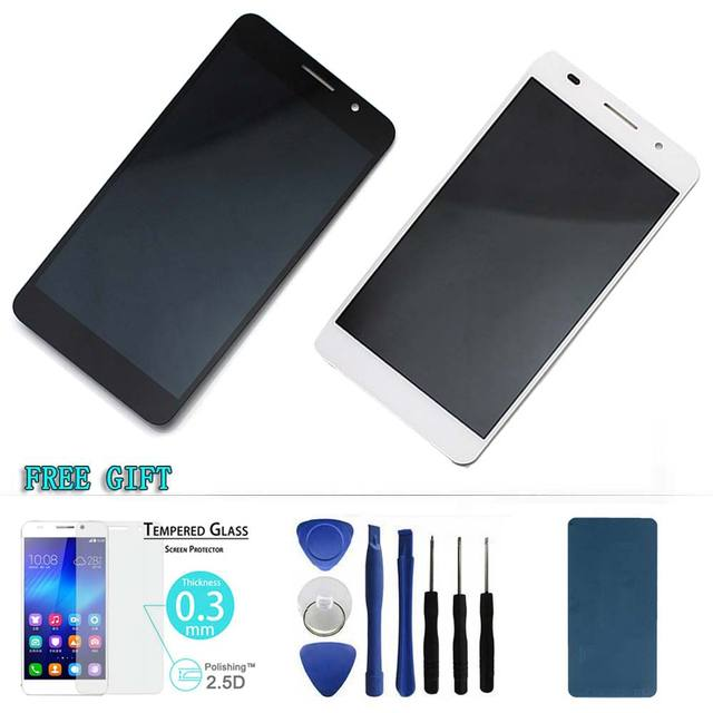 100% original white for Huawei Honor 6 LCD display+touch screen digitizer full assembly free Glass+tools+sticker