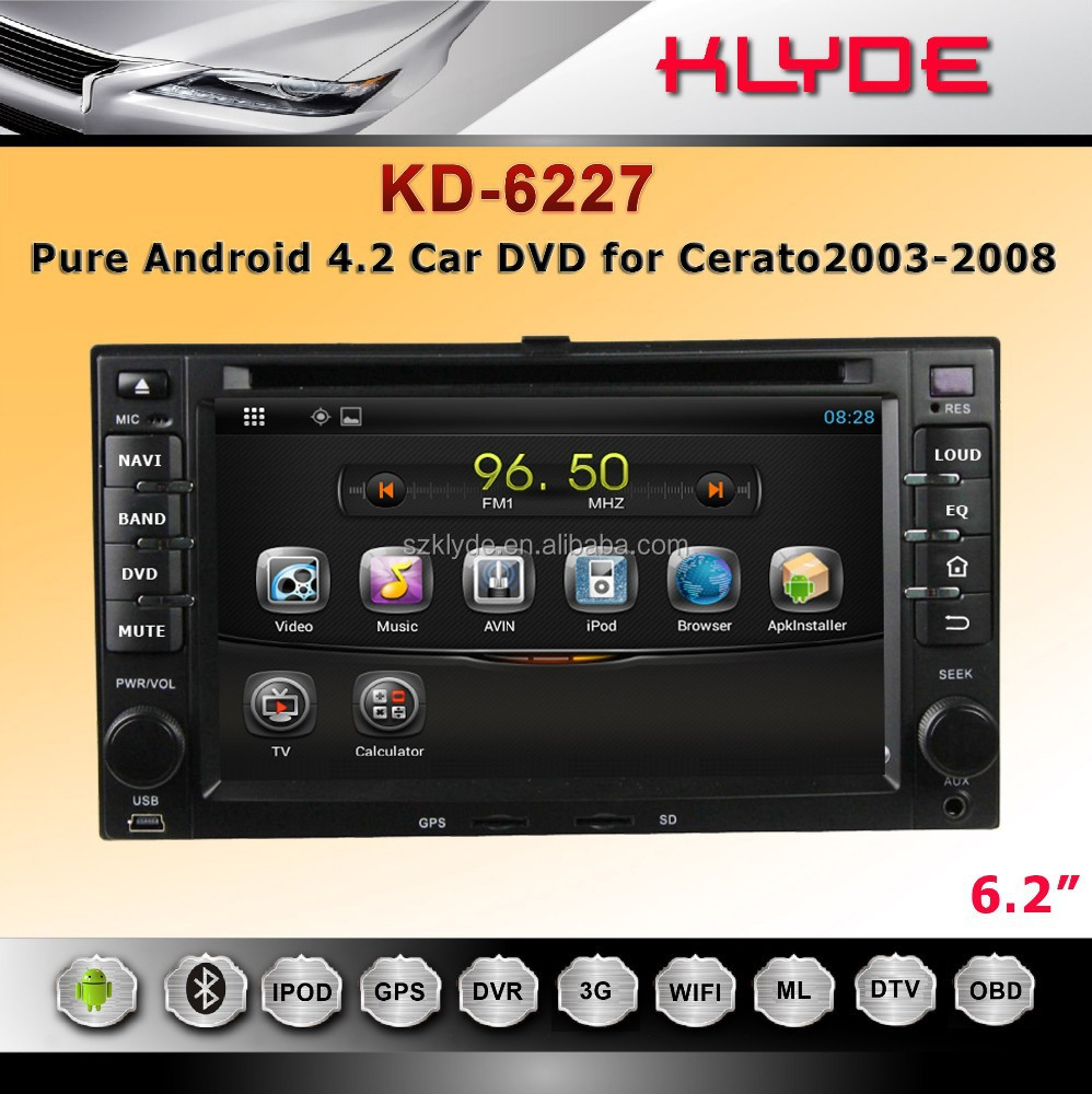 Pure Android 4.2.2 Car DVD with Multi-touch Capacitive Touch Screen for cerato