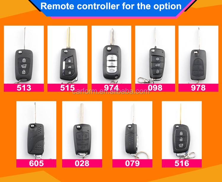 Auto smart keyless entry car alarm security system with plastic mental and flip key to choice