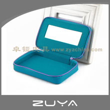 PU leather zipper small travel cosmetic bag with mirror