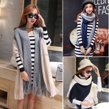 2016 New Design Two-Tone Patch Tassel Wool Knitted Shawl