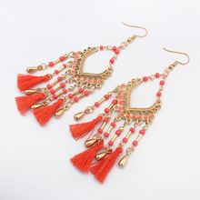 YWMT 2018 Valentine's Day Wholesale Triangle Cotton Tassel Teardrop Gold Plate Indian Earring For Women