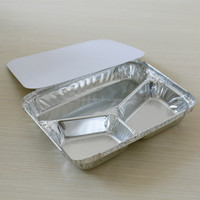 Disposable carry out 3 compartments aluminium foil food container/tray/box