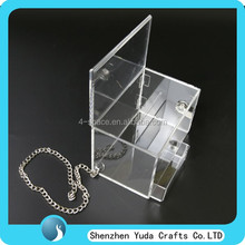 "4"" mini counter top perspex comment container acrylic donation box with lock and chain"