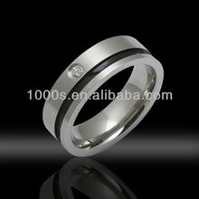 Black paint stainless steel rings with zircon