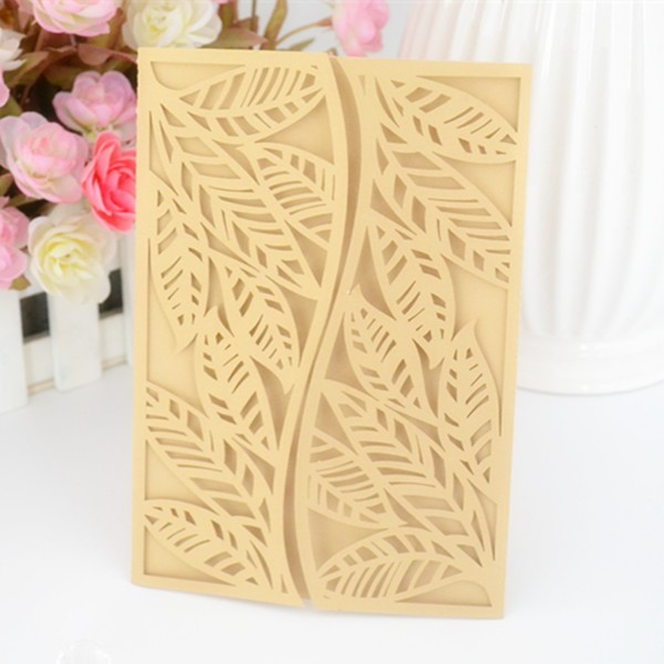 2016 newest leaves design, cheap laser cut leaves pattern invitation card,fasional leaves greeting card at present
