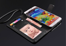 Colorful litchi Flip Leather Fashion Case for Samsung Galaxy Note 3 III N9000 PU Wallet Book Style Cover Stand Holder