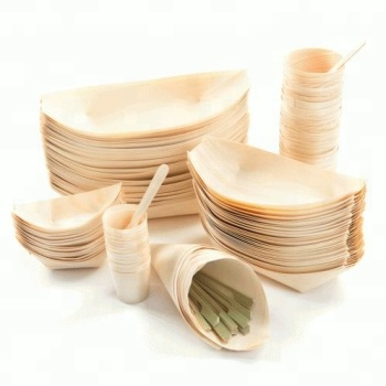 disposable eco-friendly party use japanese sushi kitchenware  wood serving boat plate