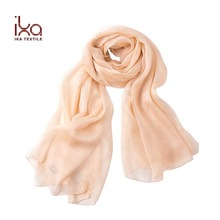 Extra Long Women Summer Fashion Plain Color Beige Turkey Silk Head Scarf Chiffon