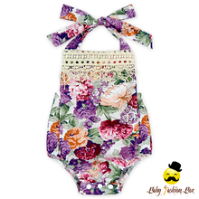Spring Fairy Infant Clothing Vintage Floral Halter Flower Printed Sleeveless Fringe Baby Girl Romper With Snaps