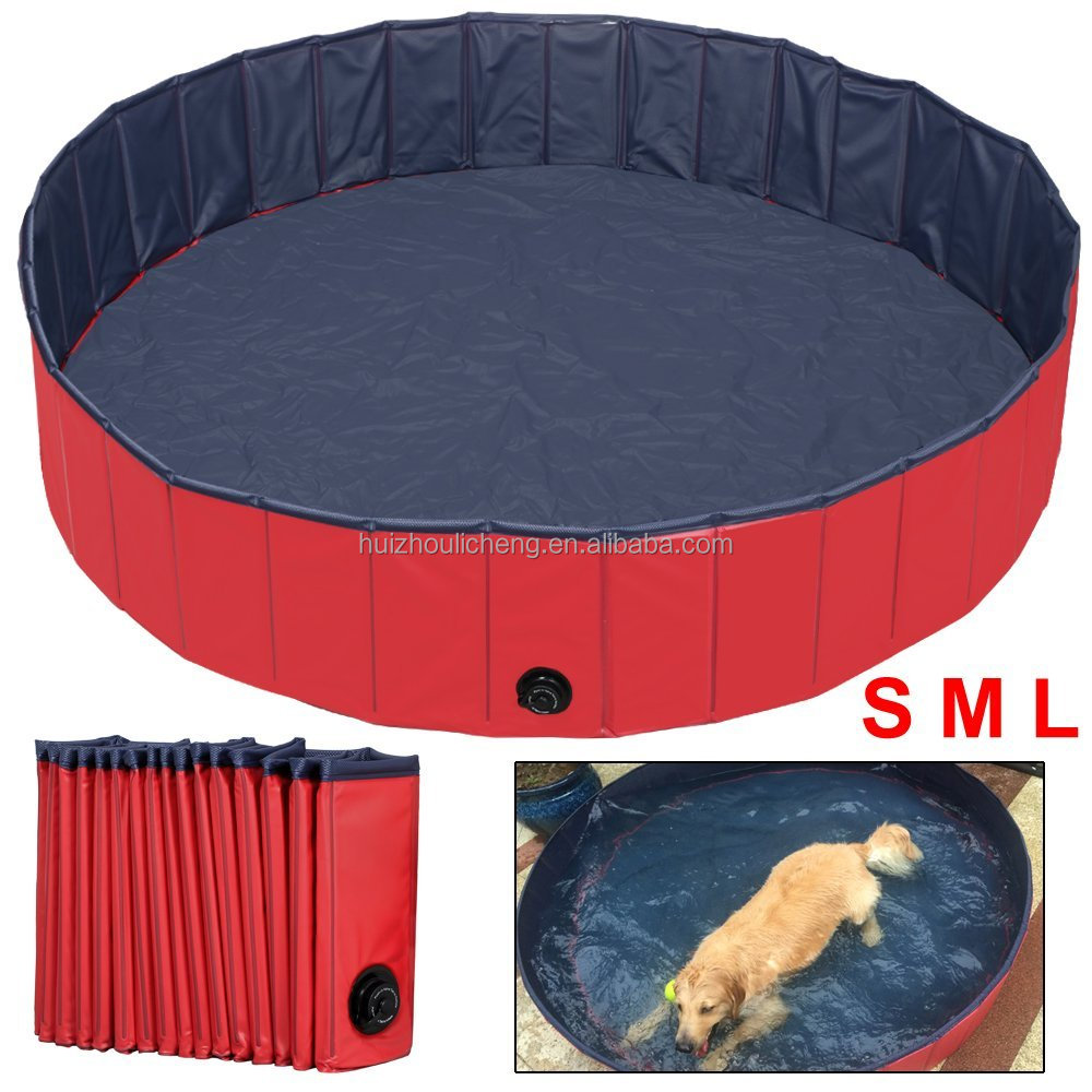 Plastic Large Durable Garden Folding Pet Swimming Pool For Dogs Cats