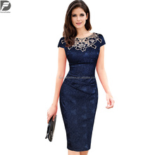 summer hot sale female sexy Short sleeve rose slim pencil skirt lace dress