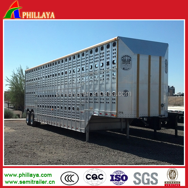 Aluminum Alloy Steel Fence Box 2 Axles 3 Axles Livestock Horse Cattle Transport Truck Trailer For Sale