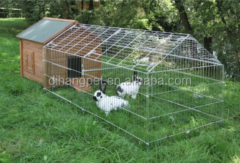 folding outdoor rabbit run cage with sunshade