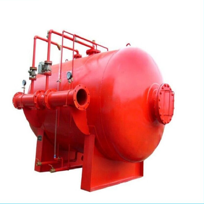Horizontal type foam fire suppression system with Foam bladder tank