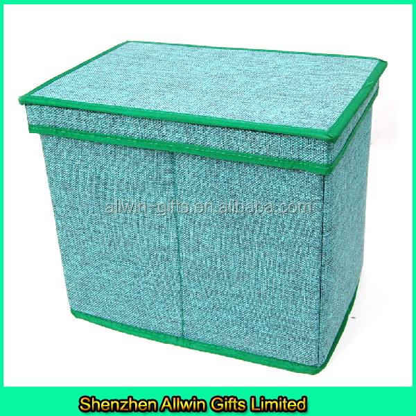 Foldable storage box with lid,jute toy storage box