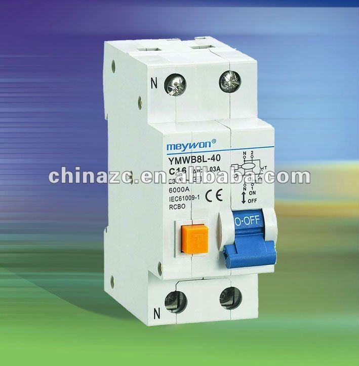 YMWB8L-40 RCBO residual current circuit breaker with overcurrent protection(Electro magnetic)