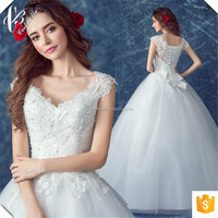 Back with Bow lace beautiful high quality cheap ball gown wedding dresses Online Shopping Bridal Dress