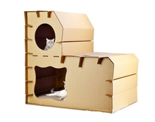 outdoor cardboard kitten house, corrugated cat house