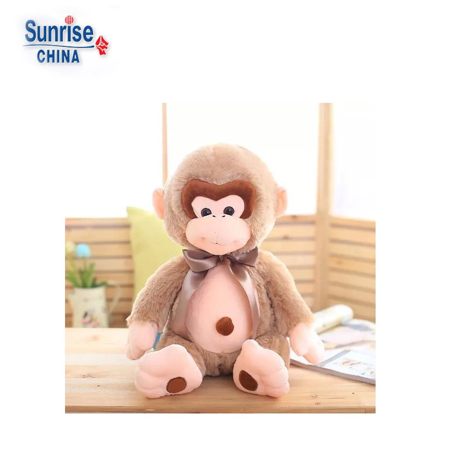 professional customized animal soft plush doll toys stuffed monkey(light brown)