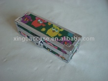 Fabric pencil box,tin pencil case custom with velvet and elastic band inner,funny pencil cases