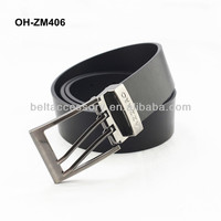 Newest design real leather belt men with double pin buckle