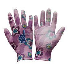 Polyester PU Coated Gardening Glove Nylon ladies Kids Garden Glove ladies work gloves