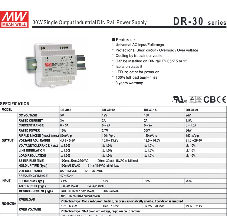 Meanwell DR-30-12 24w 12V 2a din rail power supply 12v 2a