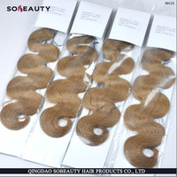 fullly cuticle correct remy hair 100 percent human hair no silicone added hair extensions blonde weft wavy