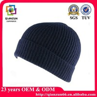 Winter handmade custom mens dark blue beanie hat