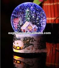 promotion 80mm musical snow house inside LED snow globe