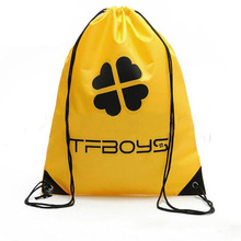 Hot sale promotional fabric drawstring back pack gift bag with custom logo