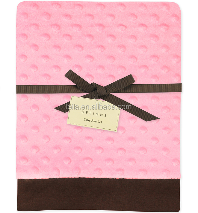 Audited Supply Factory Minky Dot Baby Blanket/Ultra Soft polka dot microfiber fleece baby blankets printed