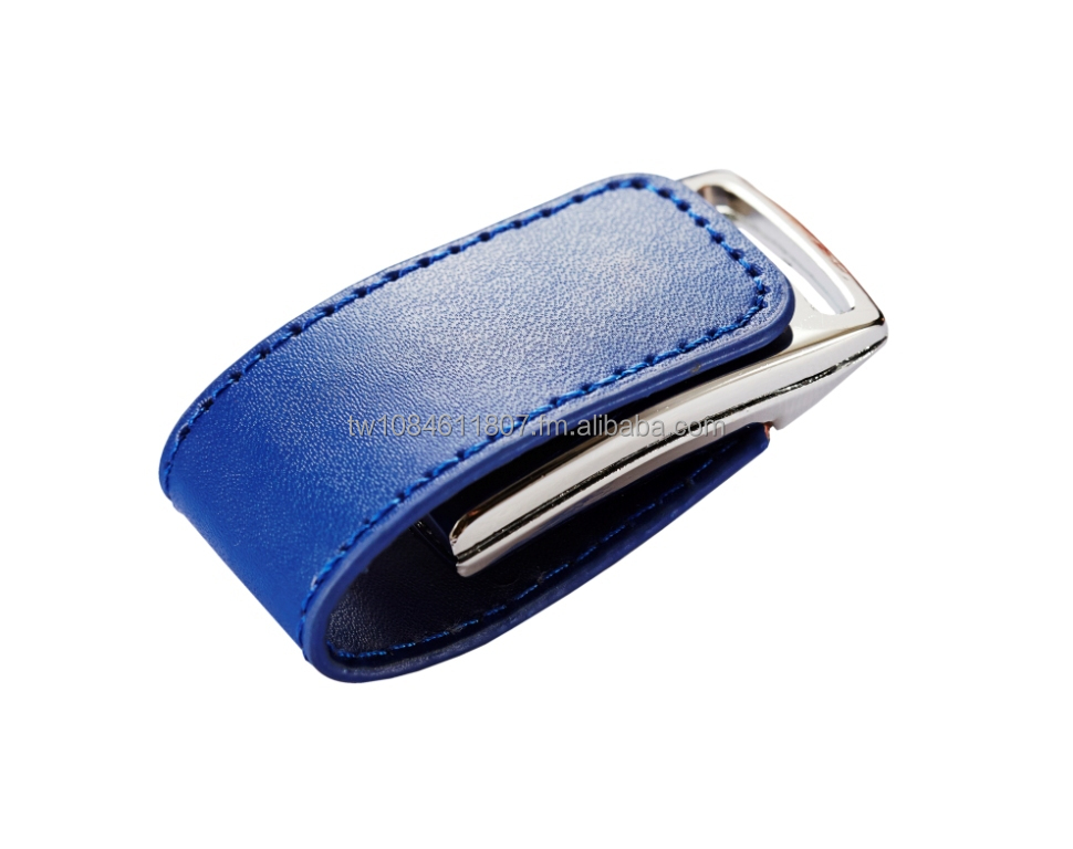 Leather Blue USB Flash Drives with your Logo - USB 2.0/3.0