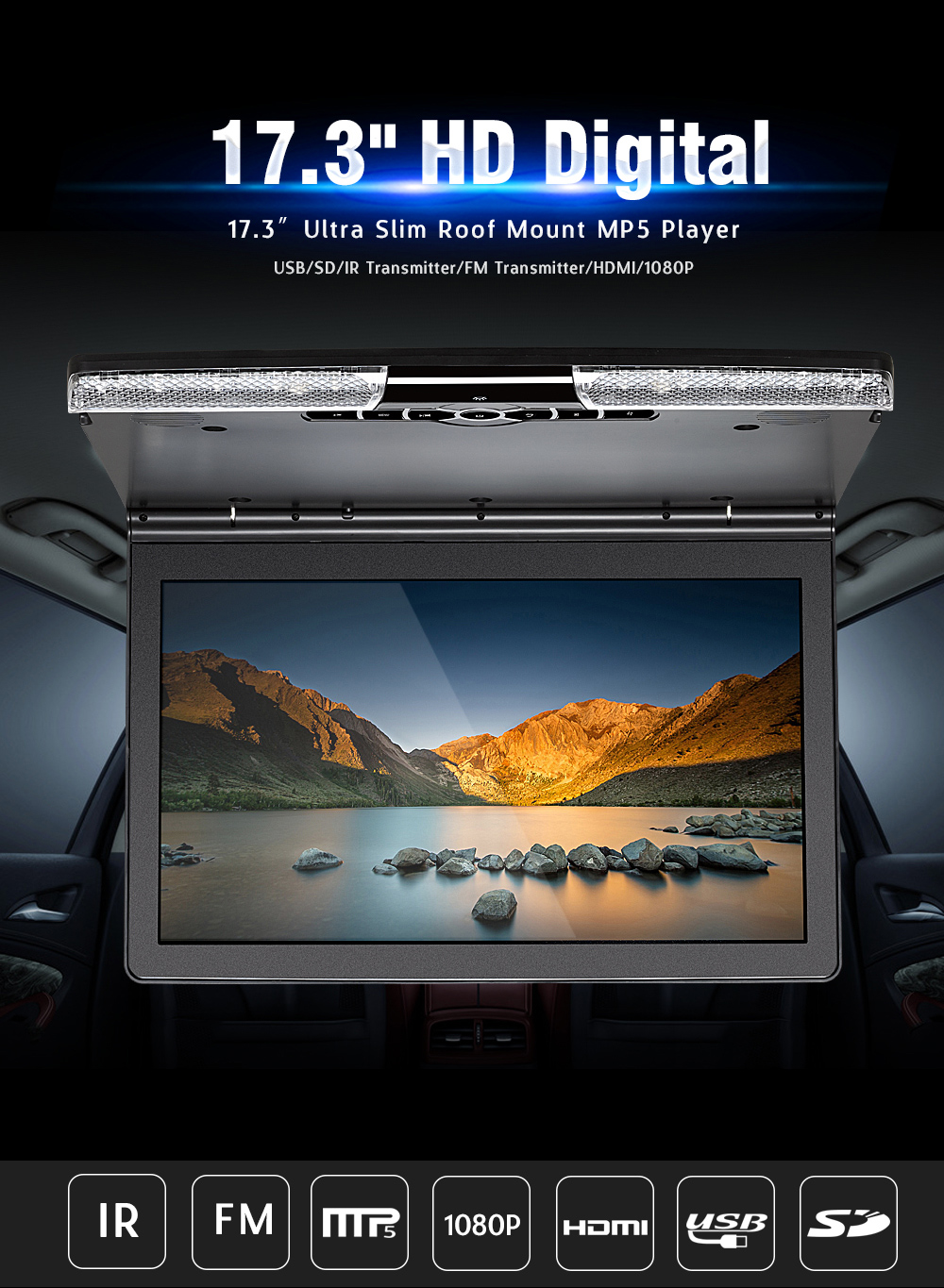 The latest touch screen lcd monitor roof mounted taxi advertising player motorized bus