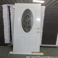 steel american door with oval glass