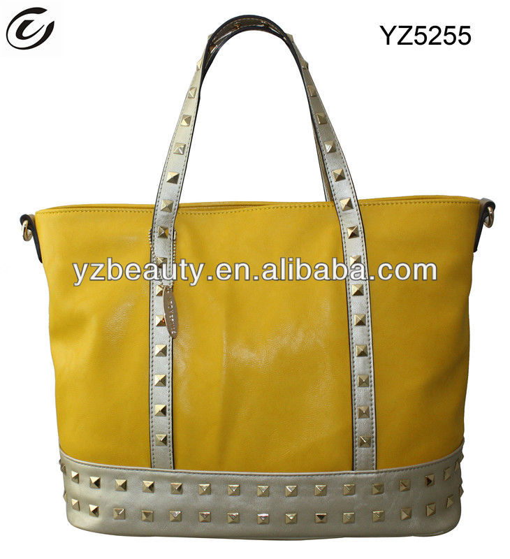 Long-strap satchel studded yellow plain tote bag