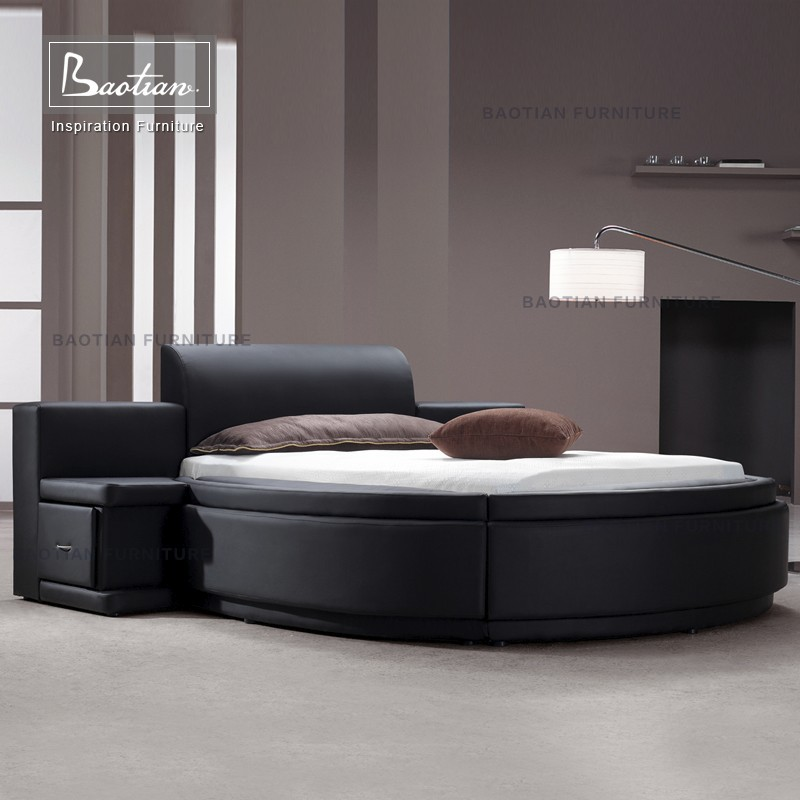 new fashion design genuine leather round bed with drawers
