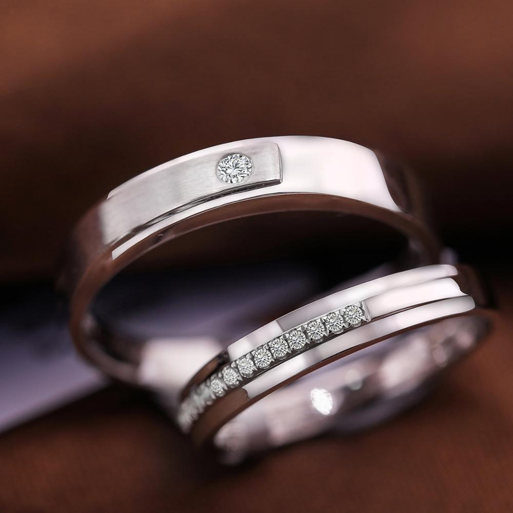 Custom Jewelry 18k White Gold Ring Couple engagement ring