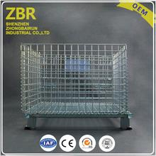 Bars Pallet Wheels Steel Mesh Container with Runner for Manufacture