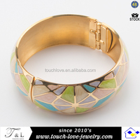 wholesale cloisonne enamel bangle wide stainless steel bracelet